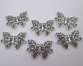 6 connecteur papillon 20 x 14 mm métal argenté