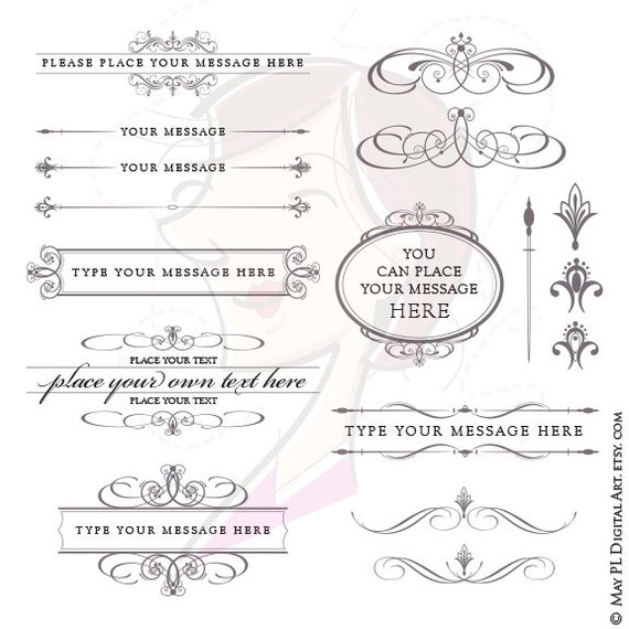 Calligraphy wedding vector clipart set charcoal gray grey diy stopboris Choice Image