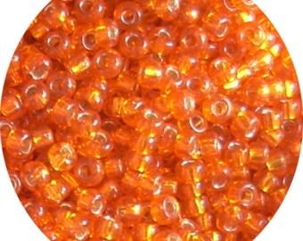 Miyuki seed beads size 10, 11/0 Orange Silverlined beads