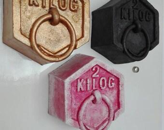 """FALSE FOAM WEIGHT   """"2 kilo"""" (magnetic) - trompe l'oeil (50g) -steel"""