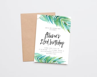 Adult Birthday Party Invitation, Tropical, Watercolor Palm Leaf (1137)