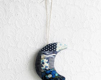 Patchwork Crescent Moon | Textile art wall hanging home decor piece in a patchwork of blues.