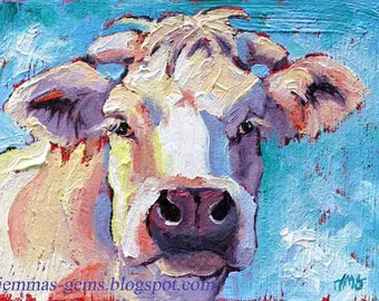 Cow Painting, Cow Print, White Cow Art Print, Red White & Blue Cow Art Print, 5 x 7 by Jemmas Gems