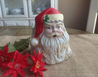 FREE SHIPPING Vintage Old World Inarco Santa Planter Bique//Non-Glazed Look 1986