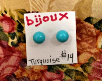 Turquoise Post Earrings on Sterling Silver