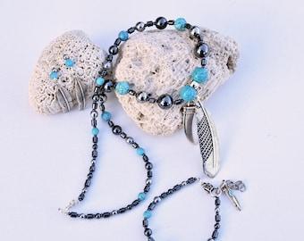 ethnic adornment turquoise feather pendant hematite-3 pieces-guaranteed quality