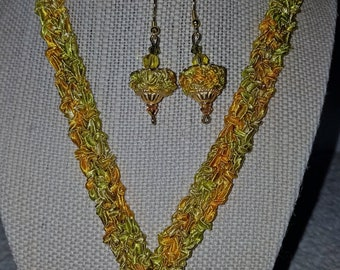 Fiber, handknit necklace and earring set with Swarovski crystal accents