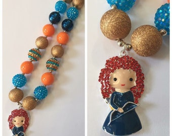 Brave Merida Chunky Bead Necklace, Pendant Chunky Necklace, Bubblegum Necklace, Blue, Orange & Gold Color Necklace