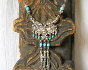 bohemian necklace turquoise necklace tassel necklace gemstone necklace  gypsy necklace bohemian necklace  turquoise jewelry boho jewelry
