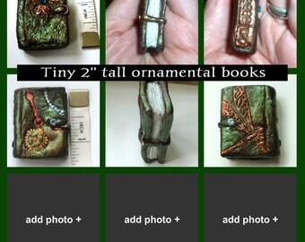 """Tiny 1-2"""" ornamental polymer clay books"""