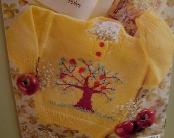 Childrens Tree Sweater Knitting Pattern, Aquarium Fish, Baby Ducks, Flowers, Kite, Apple Tree - Patons No. 684 Sizes 18 months, 2 4 6