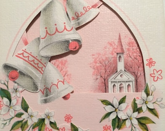 Vintage Anniversary Card Pink Card 1950s Wedding Anniversary NOS Unused