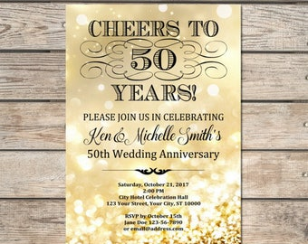 Golden Wedding Anniversary Invitation, Gold Bokeh 50th Anniversary Invitation, Gold Glitter Effect Anniversary Invite, DIGITAL OR PRINTED