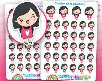 34 Cute Cheeky/Winking Girl Planner Stickers, Filofax, Erin Condren, Happy Planner,  Kawaii, Cute Sticker, UK