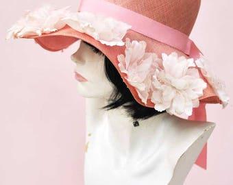 Vintage 60s Pink Floppy Wide Brim Straw Hat with Flowers • Wedding Hat