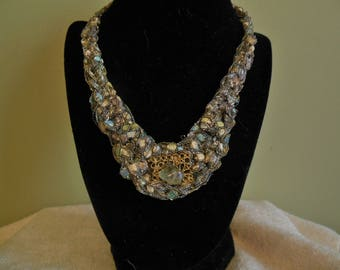 Light Blue and Pale Green Bib Necklace with Bead Accent