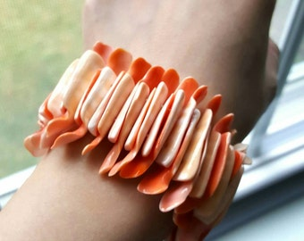 Handmade Coral/Light Orange Two Tone Sea Shell Bracelet - A Rare Find