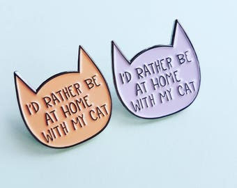 Cat enamel pin, introvert pin badge, I Would Rather Be With My Cat, cat lover gift, stocking filler, crazy cat lady, UK, CatCuddles charity