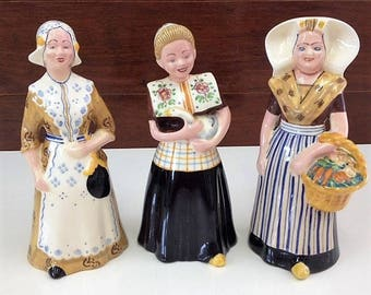 Bols Zenith Decanter Figurines Vintage 1950's Lady Figurines x 3 Signed to Base Collectable Decanters/Miniature Figural Bottles
