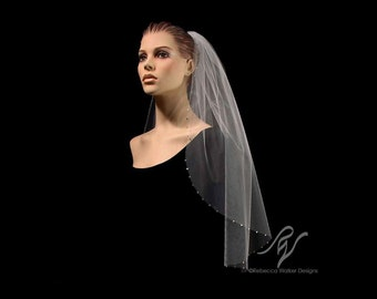 Bridal Wedding Veil with One Inch Rhinestone Edge, Made With SWAROVSKI ELEMENTS
