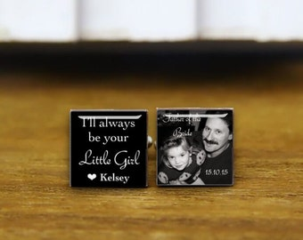 i'll always be your little girl, personalized wedding cufflinks, father of the bride cufflinks, custom wedding cuff links, groom cufflinks