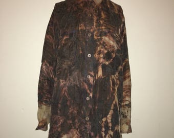 Vintage Silk Tye-Dye Flames Button Up