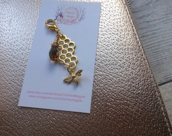 Bee planner charm, gold bee and honey drop plannercharm, cute bee and golden honey charm