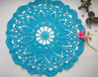 Blue doily Crochet lace doily Blue crochet doily Round doily Table doily crochet New doilies Handmade doily Crochet doilie Home Decor doily