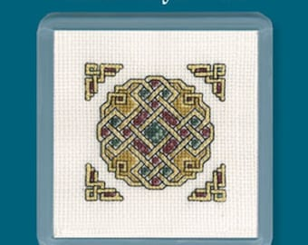 Textile Heritage Celtic Counted Cross Stitch Coaster Kits in a Variety of Designs-Celtic Jewel, Knot, Sprial, Cross, Bird