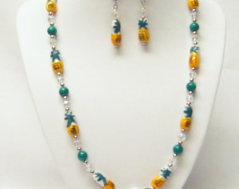 Yellow/Green Pineapple Shape Necklace/Earrings Set