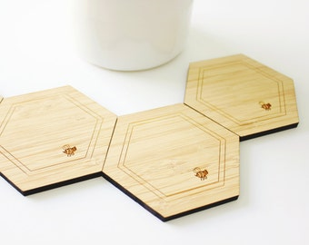 Honeycomb drink coasters (Set of 4) - Hexagon coasters - minimal - honeycomb coasters - wooden coasters house warming gift