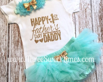 Baby First Father's Day Outfit | 1st Father's Day Baby Girl Outfit | Daddy's Girl Bodysuit | Mint And Gold Glitter | Leg Warmer Tutu Headban