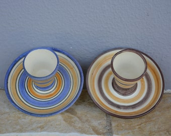Set of two handmade egg cups, decorated with stripes