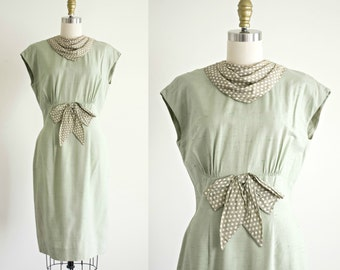 1950s 1960s polka dot detail day dress . vintage 50s moss green pencil cotton dress . small