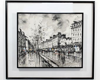 Mid Century Modern Framed Paris Street Scene Oil Painting on Canvas Signed