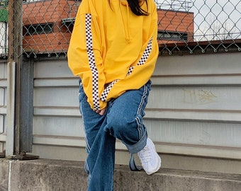 Yellow Cropped Checkered Hoodie Checkboard Check