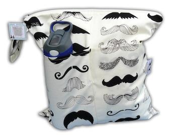 SALE / Mustache Small Wet Bag