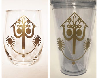 It's a Small World inspired stemless wine glass or Tumbler with straw