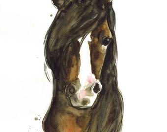 Moka the Horse (original watercolor)