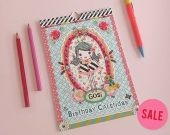 Perpetual Birthday Calendar GOSI / anniversary calendar / date calendar / colorful illustrations and patterns / kawaii style