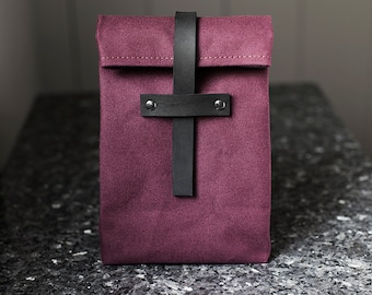 Burgundy Lunch Bag Leather Strap - Cotton Canvas Food Bag - Lunch Box