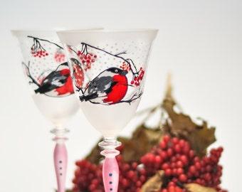 Winter Wine Glasses, Hand Painted Christmas Glasses, Bullfinches Glassware