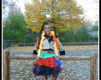 ethnic artistic cotton skirt with ruffles and colorful patchwork