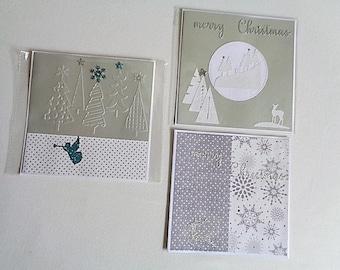 Set of 3 large Christmas cards, envelopes provided