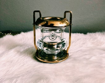 Vintage Hollywood Regency Brass + Glass Toothpick Holder
