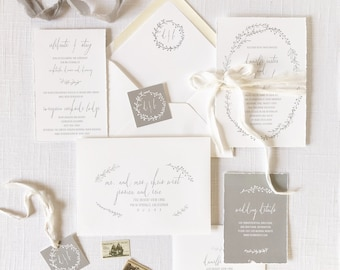 Hand Torn Wedding Invitations with Vintage Gray Wreath printed on Cotton Cardstock - Sample Set