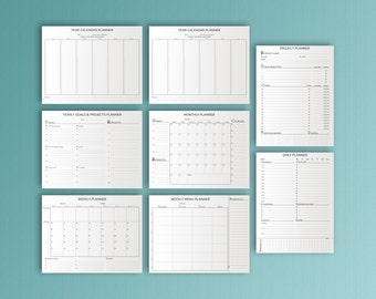 LIFE PLANNER KIT Printable Black and White Letter Size Binder Inserts Daily Weekly Monthly Project Menu Agenda Organizer Download 9 files