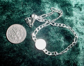 Sterling Silver Bracelet Blank - figaro chain with 3/8 inch glue pad base or bezel cup - 925  Custom made to order