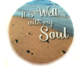 Car Coasters, It is Well with my Soul- Set of two super absorbent car coasters for your cars cup holder- Free Shipping - Cup Holder Coasters