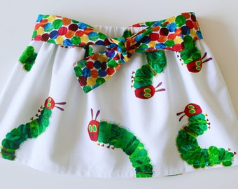 Hungry Caterpillar fabric, skirt, baby skirt,  toddler skirt, belt, twirly, cotton, baby gift